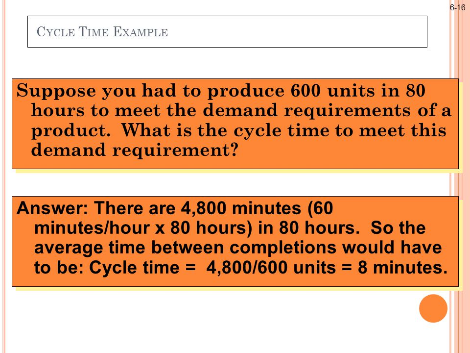 C YCLE T IME E XAMPLE Suppose you had to produce 600 units in 80 hours to meet the demand requirements of a product.