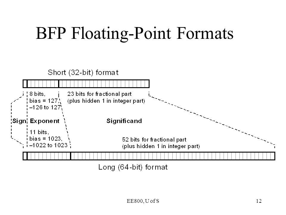 EE800, U of S12 BFP Floating-Point Formats