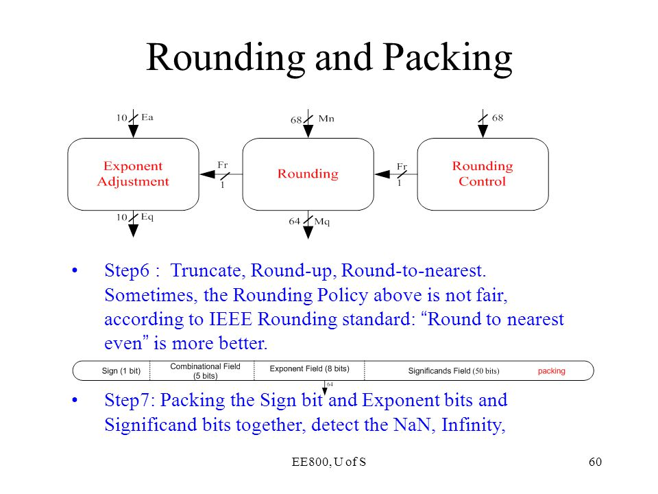 EE800, U of S60 Rounding and Packing Step6 : Truncate, Round-up, Round-to-nearest. Sometimes, the Rounding Policy above is not fair, according to IEEE