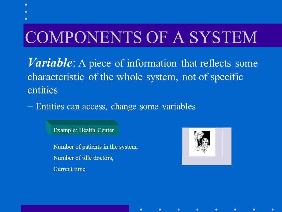 State : A collection of variables that contains all the information necessary to describe the system at any time Example: Health Center {Number of patients in the system, Status of doctors (busy or idle), Number of idle doctors, Status of Lab equipment, etc} COMPONENTS OF A SYSTEM
