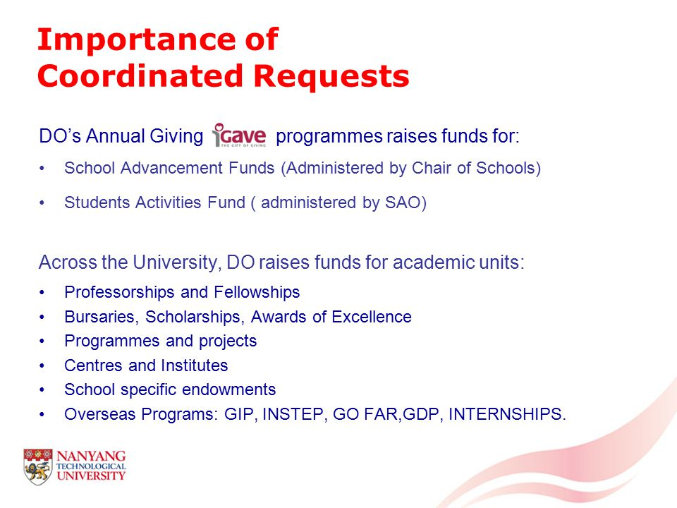 Avalanche of requests -Students, faculty, staff, Development Office, President's Office – all approaching almost the same organisations and foundations -Appeals and requests from other universities and organisations You are a small voice in the flood Prioritize your funding requests and strategize