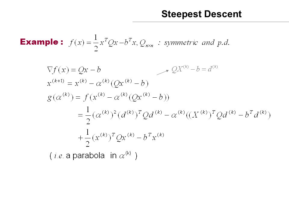 Steepest Descent Example :