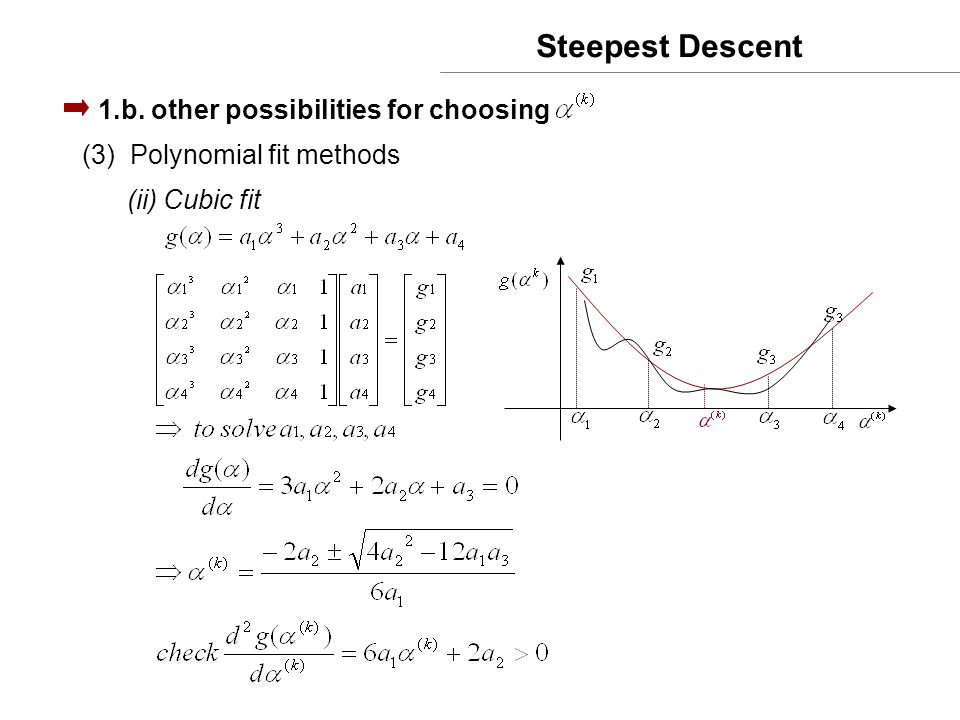 Steepest Descent 1.b. other possibilities for choosing (3)Polynomial fit methods (ii) Cubic fit