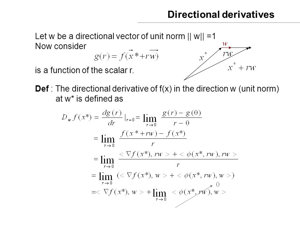 Directional derivatives Let w be a directional vector of unit norm || w|| =1 Now consider is a function of the scalar r. Def : The directional derivat