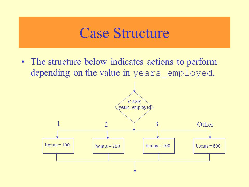 Case Structure CASE years_employed 1 2 3 Other bonus = 100 bonus = 200 bonus = 400 bonus = 800 If years_employed = 1, bonus is set to 100 If years_employed = 2, bonus is set to 200 If years_employed = 3, bonus is set to 400 If years_employed is any other value, bonus is set to 800