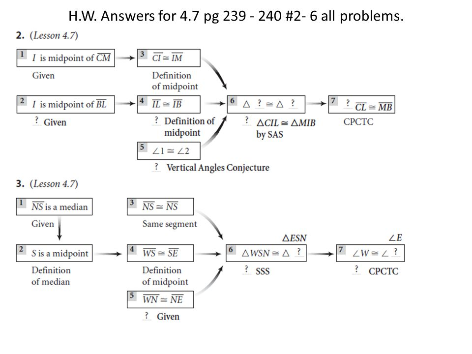 H.W. Answers for 4.7 pg 239 - 240 #2- 6 all problems.