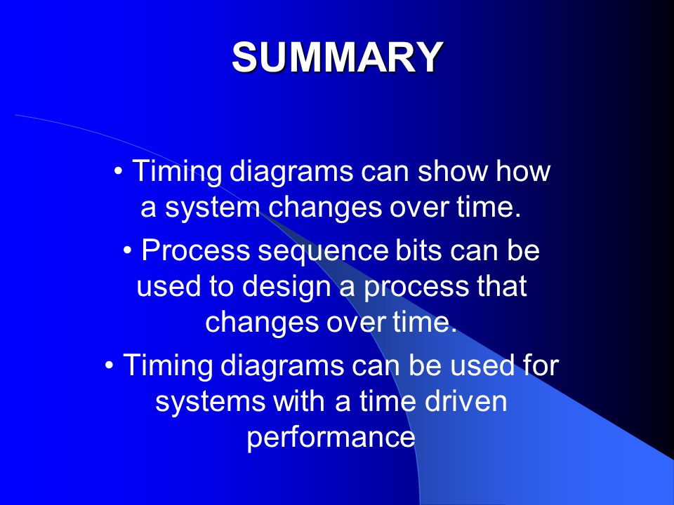 SUMMARY Timing diagrams can show how a system changes over time.