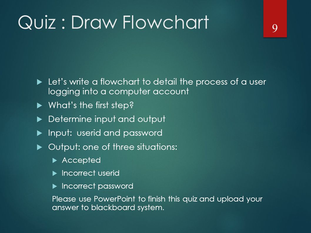 Quiz : Draw Flowchart  Let's write a flowchart to detail the process of a user logging into a computer account  What's the first step.