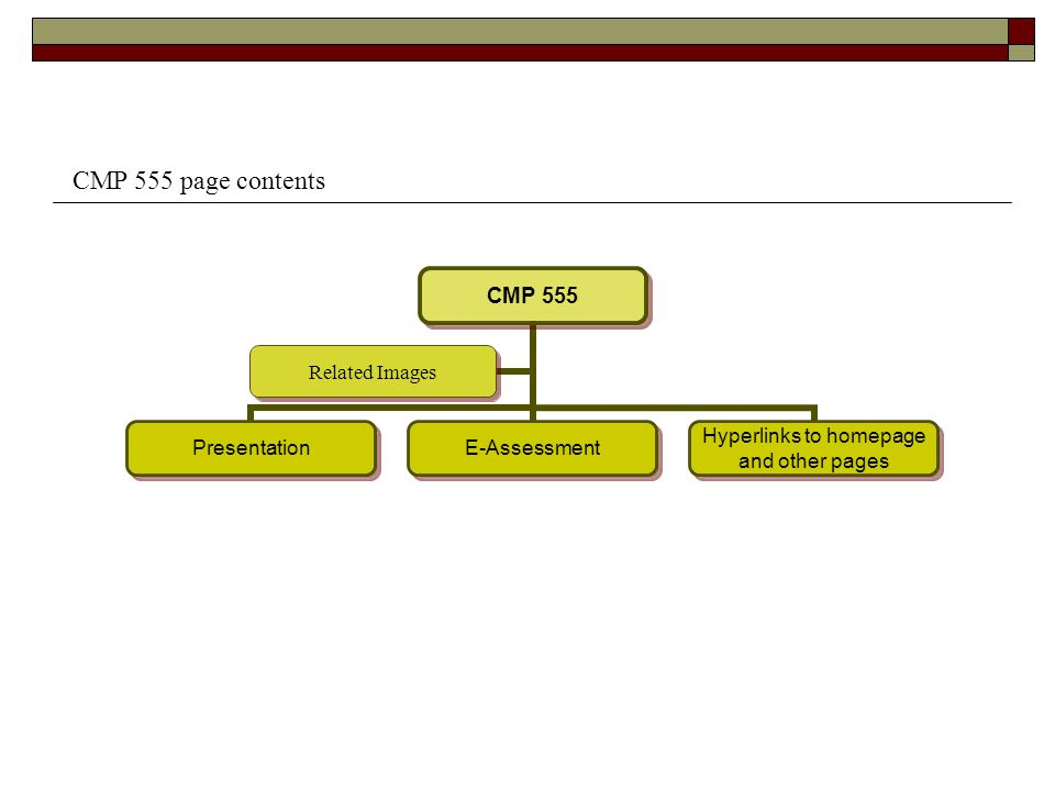 CMP 555 PresentationE-Assessment Hyperlinks to homepage and other pages Related Images CMP 555 page contents