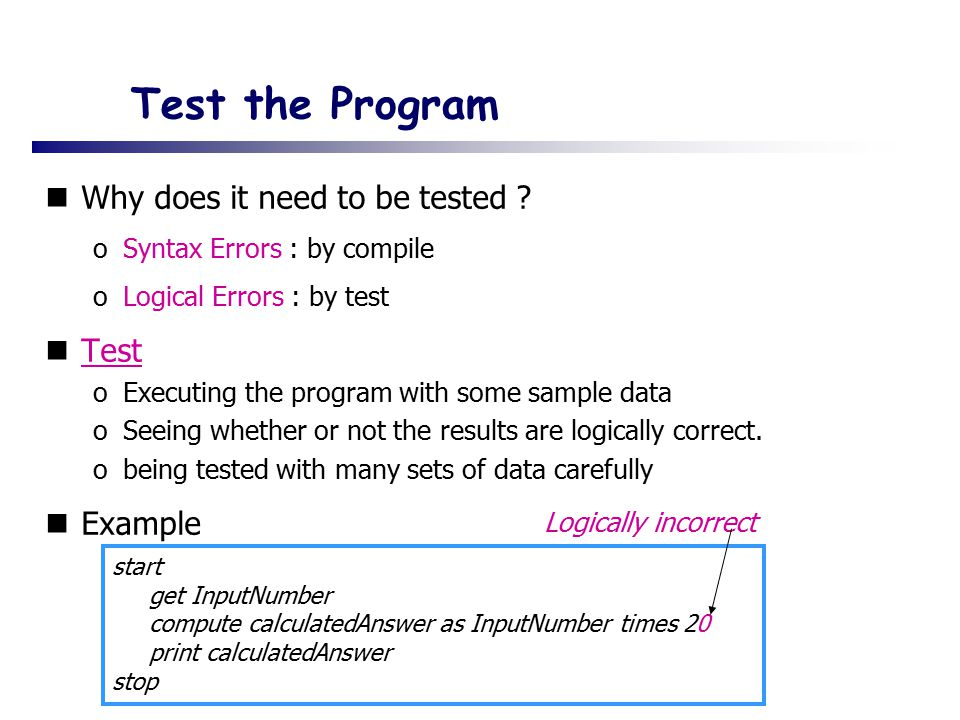 Test the Program Why does it need to be tested .
