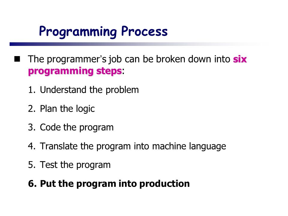 Programming Process six programming steps The programmer ' s job can be broken down into six programming steps: 1.Understand the problem 2.Plan the logic 3.Code the program 4.Translate the program into machine language 5.Test the program 6.Put the program into production