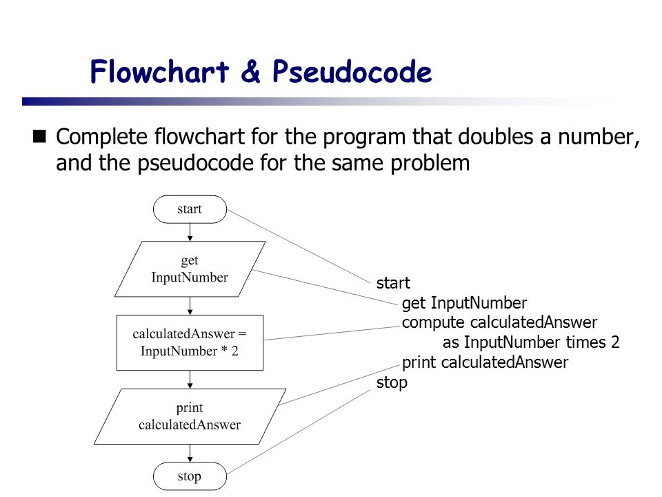 Flowchart & Pseudocode Complete flowchart for the program that doubles a number, and the pseudocode for the same problem start get InputNumber compute calculatedAnswer as InputNumber times 2 print calculatedAnswer stop