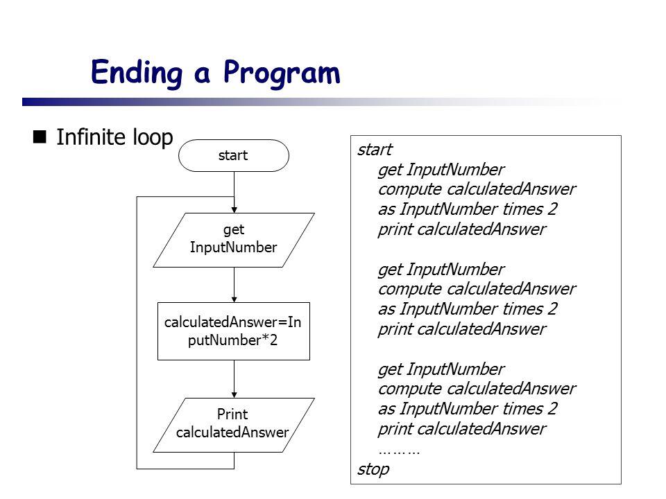 Ending a Program Infinite loop start get InputNumber calculatedAnswer=In putNumber*2 Print calculatedAnswer start get InputNumber compute calculatedAnswer as InputNumber times 2 print calculatedAnswer get InputNumber compute calculatedAnswer as InputNumber times 2 print calculatedAnswer get InputNumber compute calculatedAnswer as InputNumber times 2 print calculatedAnswer ……… stop