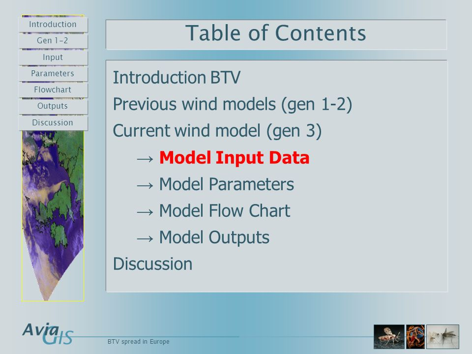 Table of Contents Introduction BTV Previous wind models (gen 1-2) Current wind model (gen 3) → Model Input Data → Model Parameters → Model Flow Chart