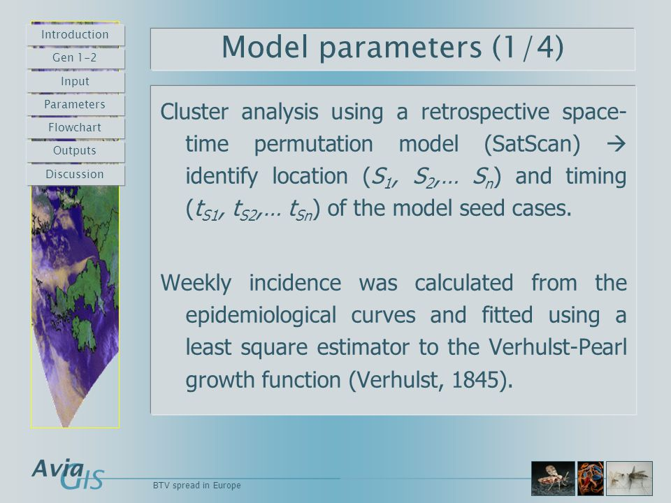 Model parameters (1/4) Cluster analysis using a retrospective space- time permutation model (SatScan)  identify location (S 1, S 2,… S n ) and timing