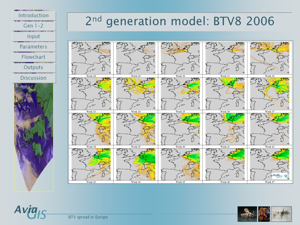 BTV spread in Europe 2 nd generation model: BTV8 2006 Introduction Gen 1-2 Input Parameters Flowchart Outputs Discussion