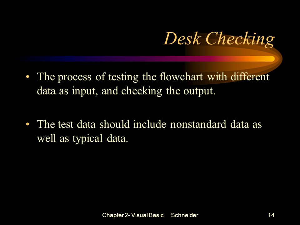 Chapter 2- Visual Basic Schneider14 Desk Checking The process of testing the flowchart with different data as input, and checking the output.