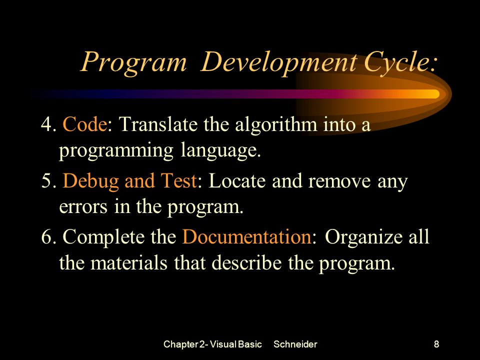 Chapter 2- Visual Basic Schneider8 Program Development Cycle: 4.