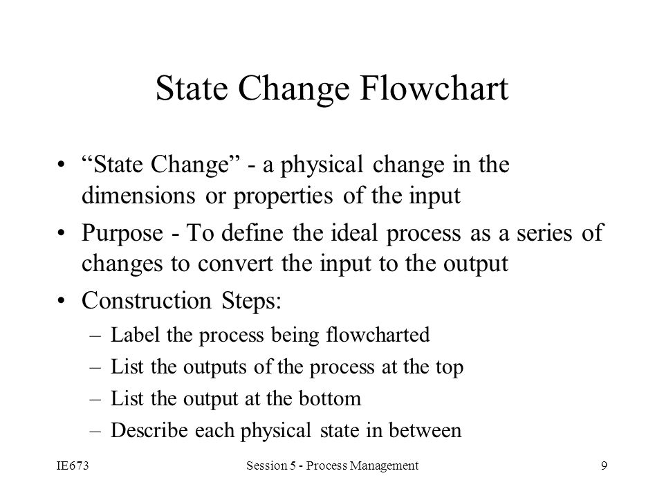 IE673Session 5 - Process Management9 State Change Flowchart State Change - a physical change in the dimensions or properties of the input Purpose - To define the ideal process as a series of changes to convert the input to the output Construction Steps: –Label the process being flowcharted –List the outputs of the process at the top –List the output at the bottom –Describe each physical state in between