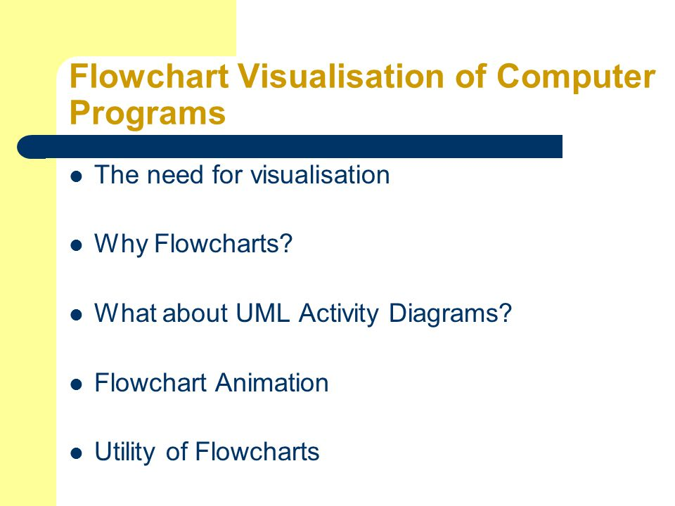Flowchart Visualisation of Computer Programs The need for visualisation Why Flowcharts.