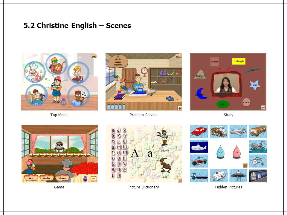 5.2 Christine English – Scenes Top MenuProblem-SolvingStudy GamePicture DictionaryHidden Pictures