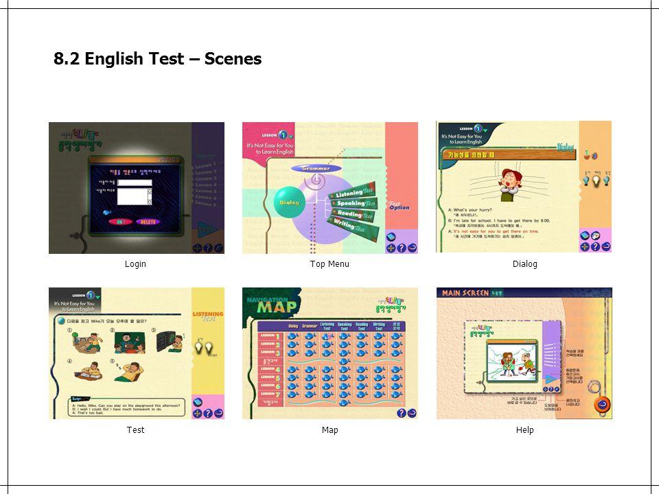 8.2 English Test – Scenes LoginTop MenuDialog TestMapHelp