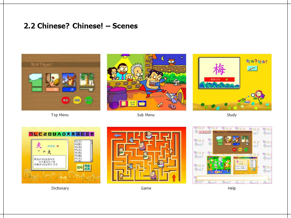 2.2 Chinese Chinese! – Scenes Top MenuSub MenuStudy DictionaryGameHelp