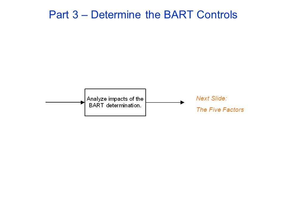 Part 3 – Determine the BART Controls Next Slide: The Five Factors