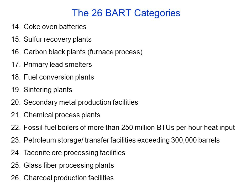 The 26 BART Categories 14.Coke oven batteries 15.Sulfur recovery plants 16.Carbon black plants (furnace process) 17.Primary lead smelters 18.Fuel conversion plants 19.Sintering plants 20.Secondary metal production facilities 21.Chemical process plants 22.Fossil-fuel boilers of more than 250 million BTUs per hour heat input 23.Petroleum storage/ transfer facilities exceeding 300,000 barrels 24.Taconite ore processing facilities 25.Glass fiber processing plants 26.Charcoal production facilities