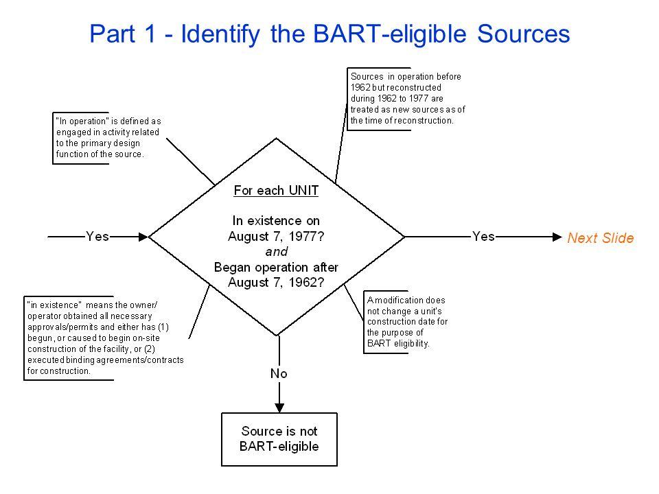 Part 3 – Determine the BART Controls Next Slide