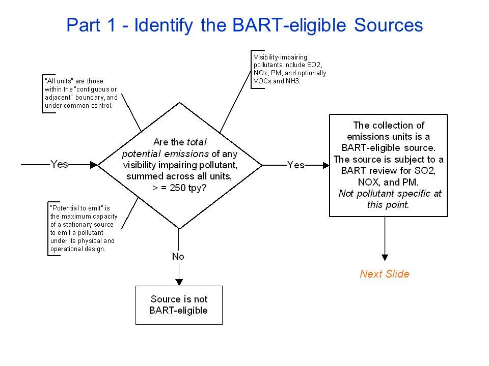 Part 3 – Determine the BART Controls Next Slide: The Five Factors