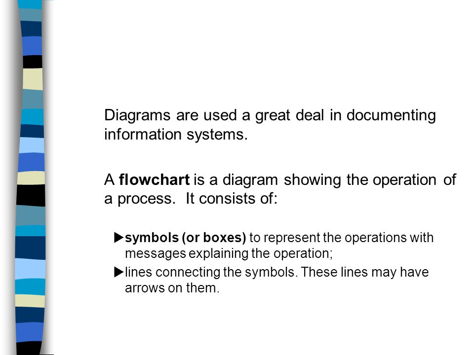 Diagrams are used a great deal in documenting information systems.