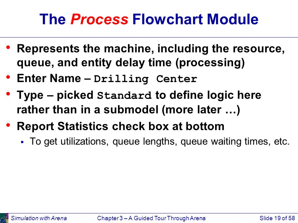 Simulation with ArenaChapter 3 – A Guided Tour Through ArenaSlide 19 of 58 The Process Flowchart Module Represents the machine, including the resource, queue, and entity delay time (processing) Enter Name – Drilling Center Type – picked Standard to define logic here rather than in a submodel (more later …) Report Statistics check box at bottom  To get utilizations, queue lengths, queue waiting times, etc.