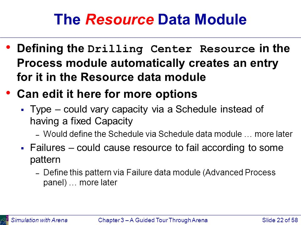 Simulation with ArenaChapter 3 – A Guided Tour Through ArenaSlide 22 of 58 The Resource Data Module Defining the Drilling Center Resource in the Process module automatically creates an entry for it in the Resource data module Can edit it here for more options  Type – could vary capacity via a Schedule instead of having a fixed Capacity – Would define the Schedule via Schedule data module … more later  Failures – could cause resource to fail according to some pattern – Define this pattern via Failure data module (Advanced Process panel) … more later