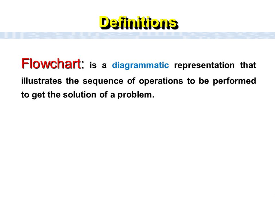 CC111 Lec#6 : Flow Charts 2 DefinitionsDefinitions Flowchart: Flowchart: is a diagrammatic representation that illustrates the sequence of operations