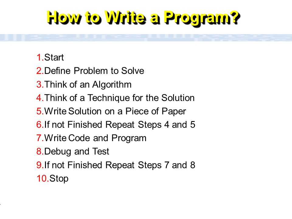 CC111 Lec#6 : Flow Charts 4 How to Write a Program? 1.Start 2.Define Problem to Solve 3.Think of an Algorithm 4.Think of a Technique for the Solution