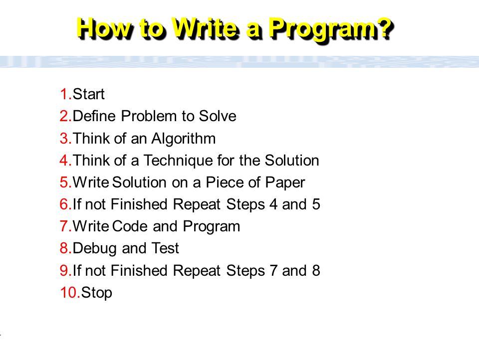 CC111 Lec#6 : Flow Charts 5 How to Write a Program ?(flowchart) Define Problem to Solve Stop Think of an Algorithm (Technique for the solution) Idea!!!.