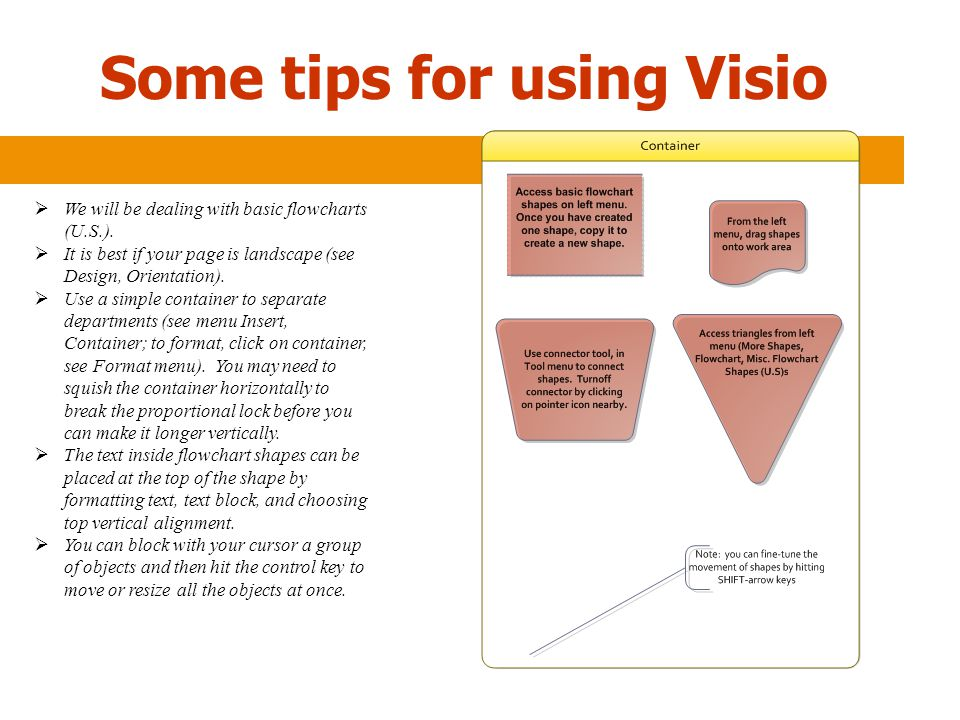 Some tips for using Visio  We will be dealing with basic flowcharts (U.S.).