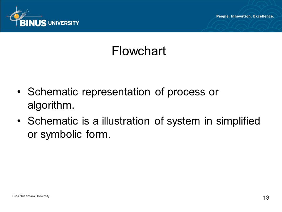 Flowchart Schematic representation of process or algorithm. Schematic is a illustration of system in simplified or symbolic form. Bina Nusantara Unive