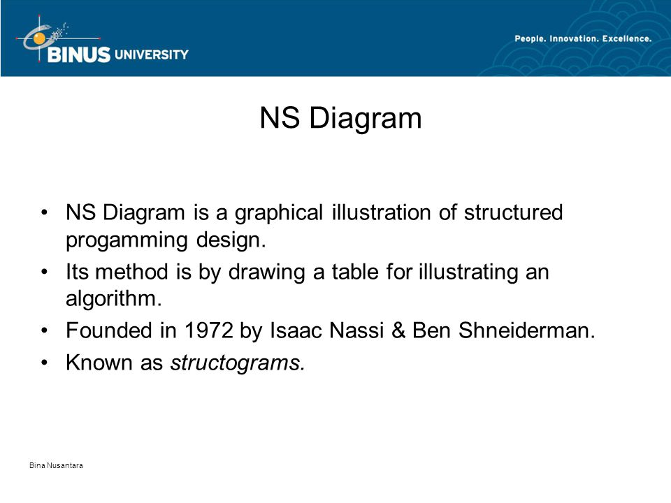 Bina Nusantara NS Diagram NS Diagram is a graphical illustration of structured progamming design. Its method is by drawing a table for illustrating an