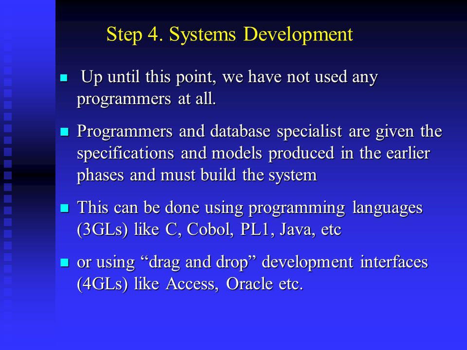 System development includes: Scheduling Scheduling Programming Programming Testing Testing