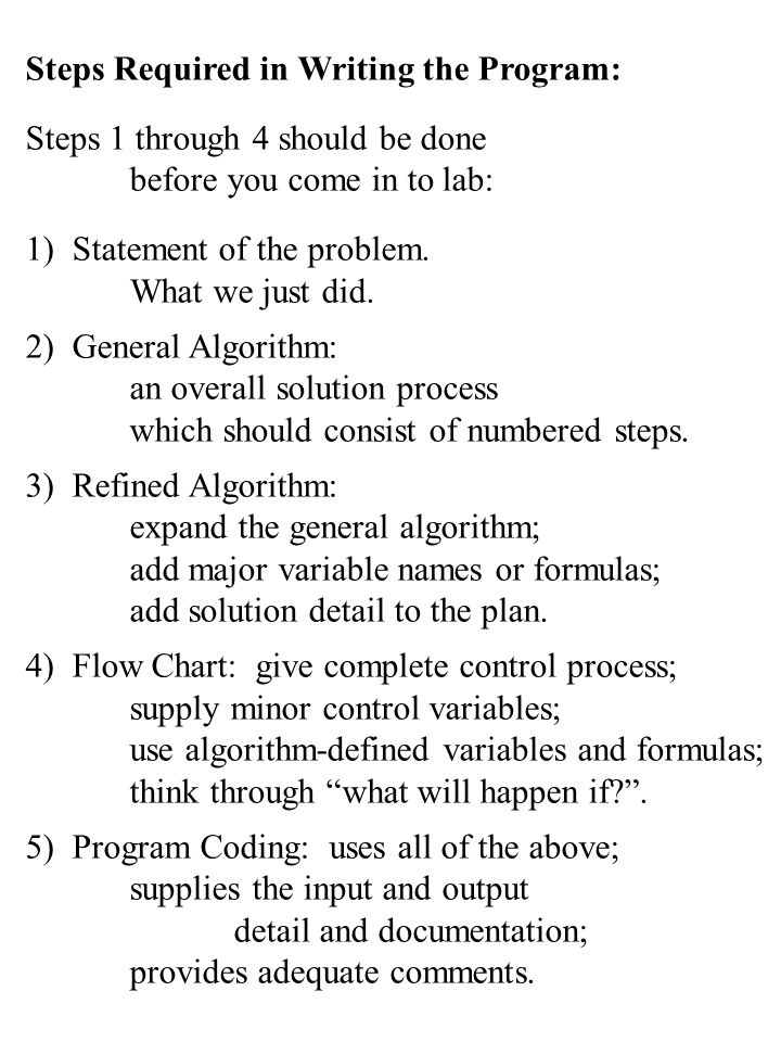 Steps Required in Writing the Program: Steps 1 through 4 should be done before you come in to lab: 1) Statement of the problem. What we just did. 2) G