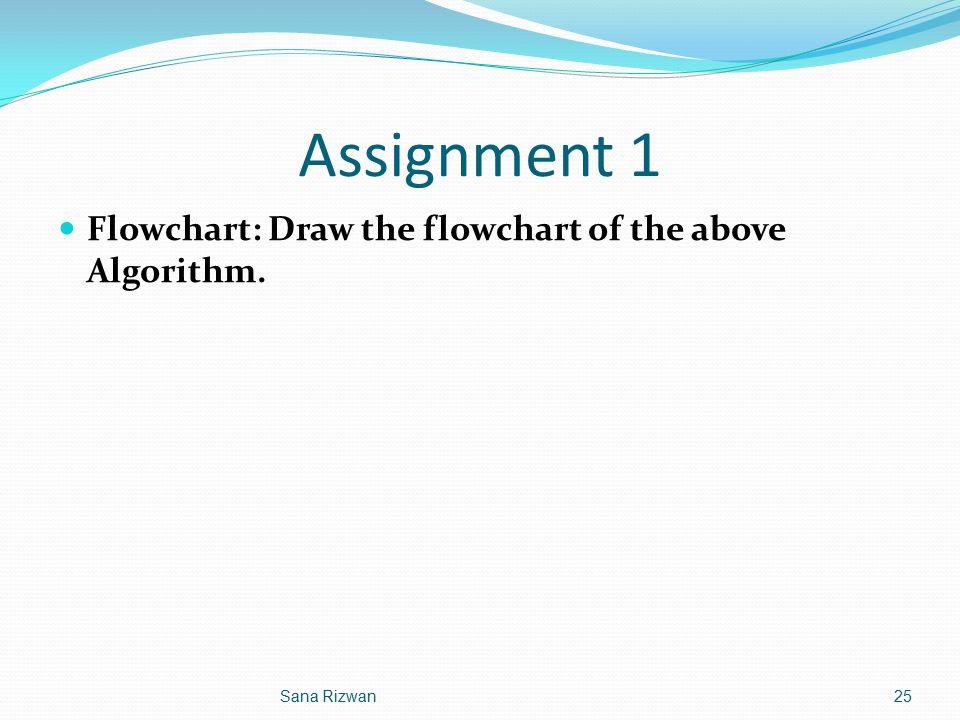 Assignment 1 Flowchart: Draw the flowchart of the above Algorithm. 25Sana Rizwan