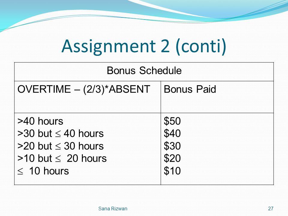 Assignment 2 (conti) Bonus Schedule OVERTIME – (2/3)*ABSENTBonus Paid >40 hours >30 but  40 hours >20 but  30 hours >10 but  20 hours  10 hours $5