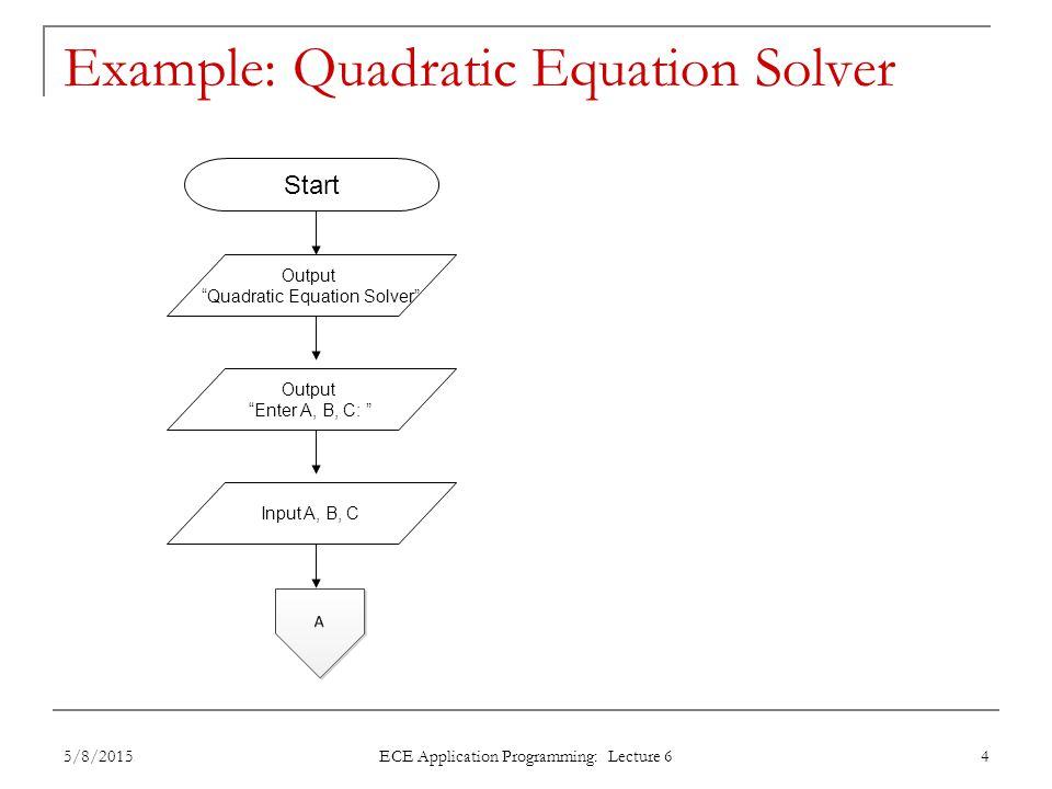 "Example: Quadratic Equation Solver Output ""Quadratic Equation Solver"" Output ""Enter A, B, C: "" Input A, B, C Start 5/8/20154 ECE Application Programmi"