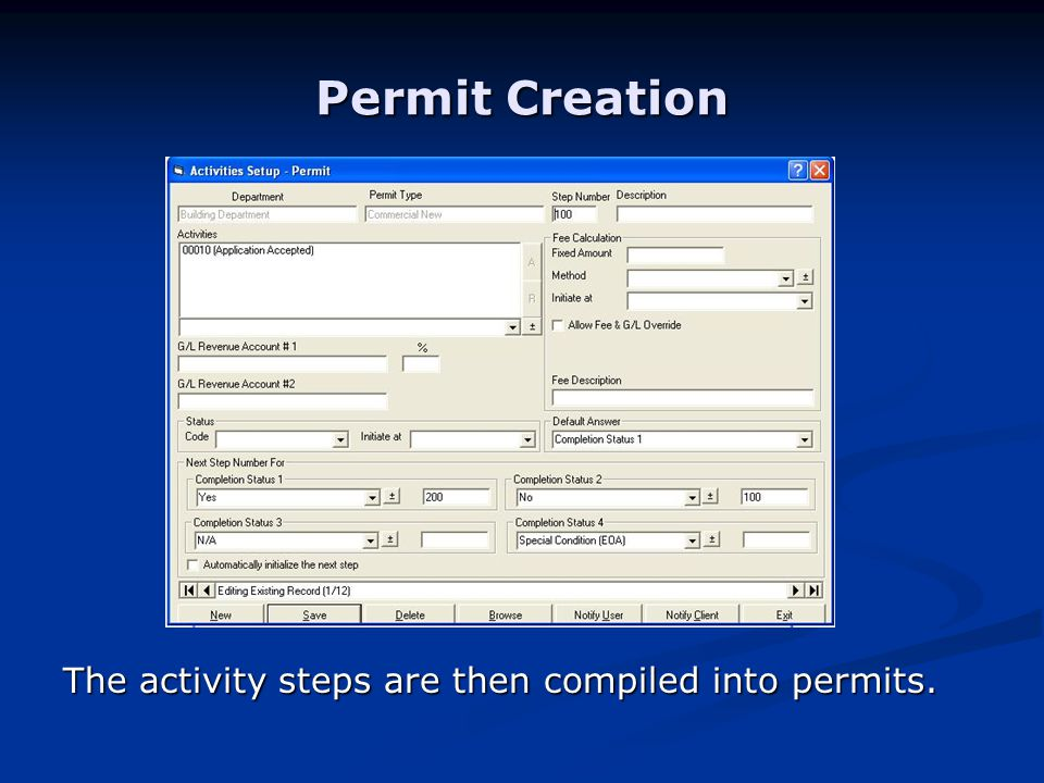 Permit Creation The activity steps are then compiled into permits.