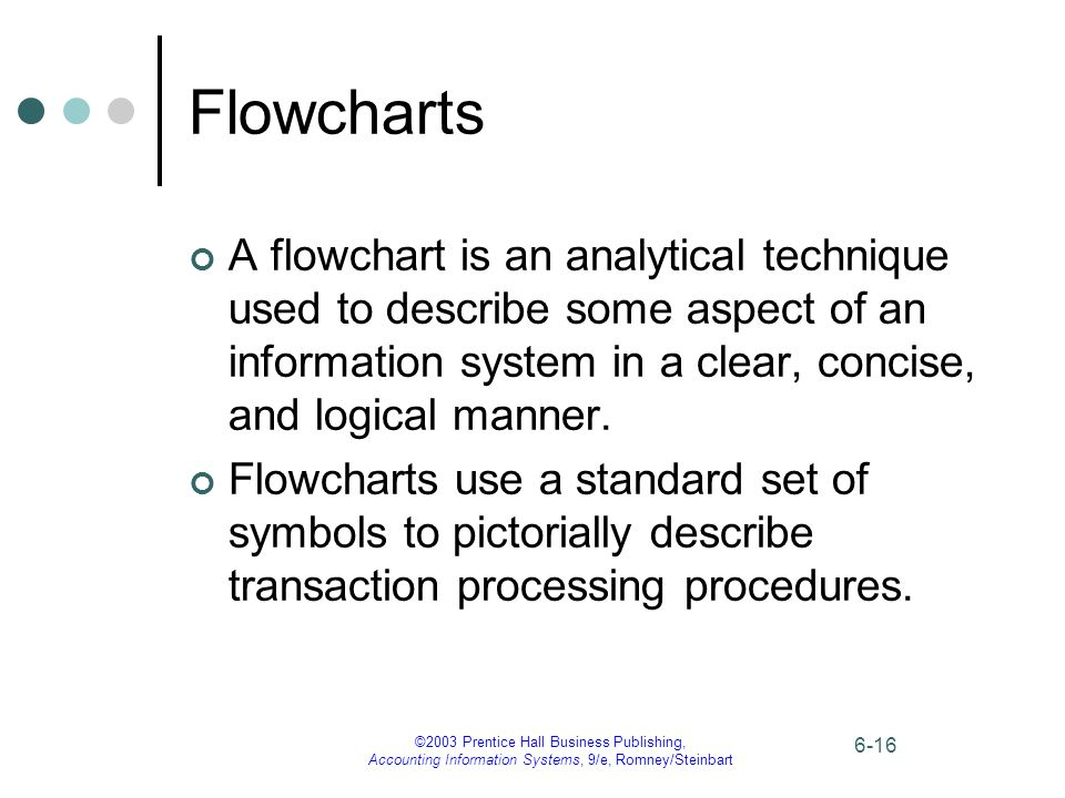 ©2003 Prentice Hall Business Publishing, Accounting Information Systems, 9/e, Romney/Steinbart 6-16 Flowcharts A flowchart is an analytical technique used to describe some aspect of an information system in a clear, concise, and logical manner.