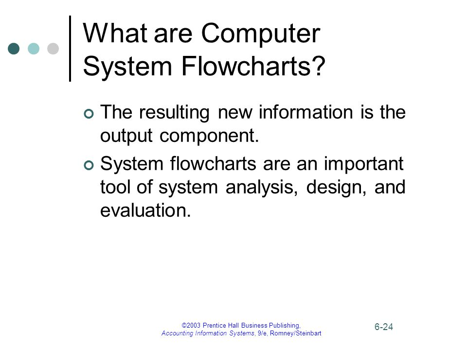 ©2003 Prentice Hall Business Publishing, Accounting Information Systems, 9/e, Romney/Steinbart 6-24 What are Computer System Flowcharts? The resulting