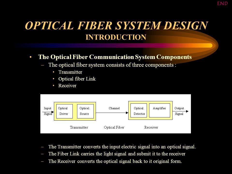 OPTICAL FIBER SYSTEM DESIGN SOFTWARE FLOWCHARTS ALL ACCEPTED DESIGNS FLOWCHART BACK HOW THE PROGRAM USES THE DATABASE END