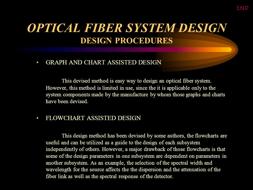 OPTICAL FIBER SYSTEM DESIGN DESIGN PROCEDURES GRAPH AND CHART ASSISTED DESIGN This devised method is easy way to design an optical fiber system.